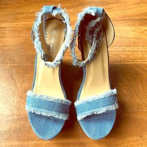 Distress Denim ankle wrap shoes.